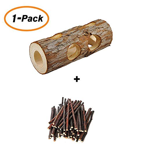 (Small Animal Activity Toy Natural Wooden Tunnel Tube Toy and Apple Sticks for Chinchillas Guinea Pig Squirrel Hamster Mice Gerbils)
