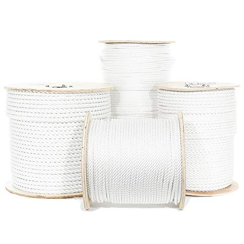 Polyester Rope - Golberg Twisted Polyester Rope - White - Low Stretch, High Strength - Moisture, UV, Rot, Oil and Chemical Resistant - Rigging, Winch, String Line, Truck Rope, Crafts - (3/8 Inch, 10 Feet)
