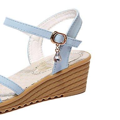 LvYuan Mujer-Tacón Cuña Plataforma-Gladiador-Sandalias-Exterior Vestido Informal-Semicuero-Azul Beige beige