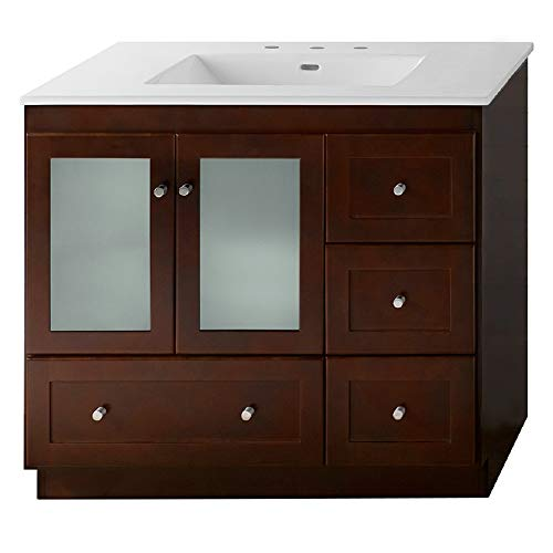 (RONBOW Essentials Shaker 36 Inch Bathroom Vanity Cabinet Base in Dark Cherry Finish, with Soft Close Frosted Glass Doors on Left and Full Extension Drawers 081936-1L-H01)