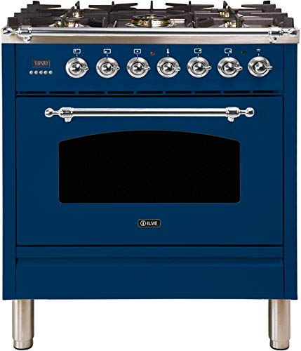 Ilve UPN76DMPBLX Nostalgie Series 30 Inch Dual Fuel Convection Freestanding Range, 5 Sealed Brass Burners, 3 cu.ft. Total Oven Capacity in Blue, Chrome Trim (Natural Gas)