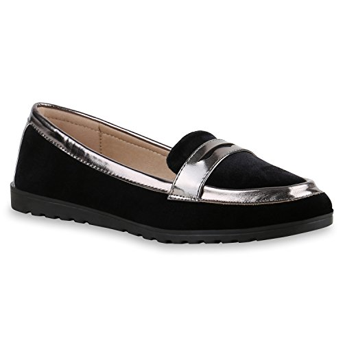 Camiri Flats Schuhe Grau Slipper Metallic Lack Damen Ballerinas Schwarz Stiefelparadies Flandell Profilsohle Metallic xYw0R7gF