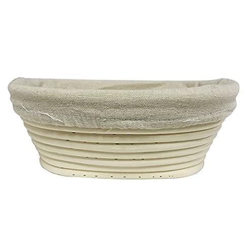 Agile-Shop Oval Long Banneton Brotform Bread Dough Proofing Rising Rattan Handmade Basket & Liner - Hand Woven Oval Basket