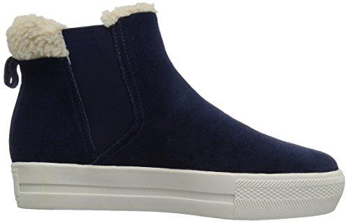 De Fix Dames Joan High-top Faux Shearling Trim Sneaker Marine Suède