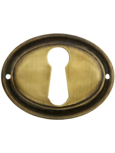 Brass Keyhole Cover (Oval Horizontal Stamped Brass Keyhole Cover In Antique-By-Hand Finish)