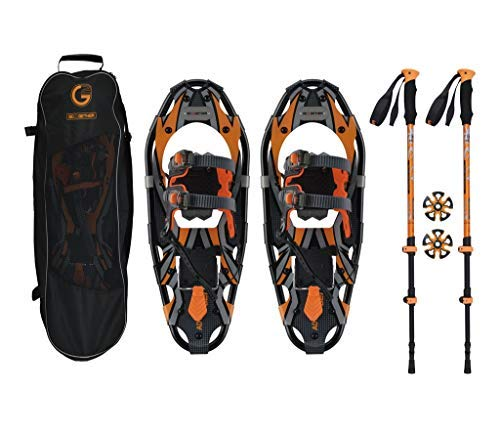 G2 GO2GETHER Snowshoes kit Adventure Adult (Orange, 21 in, Optimized Weight up to 150lb) (Men Snowshoes Atlas)