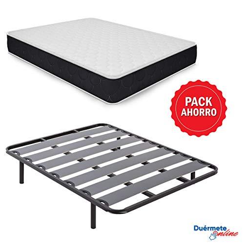 Duermete Online Pack Ahorro Cama Completa con Colchon Viscoelastico Pocket Visco + Somier Lama Ancha + Patas Roscadas, 105
