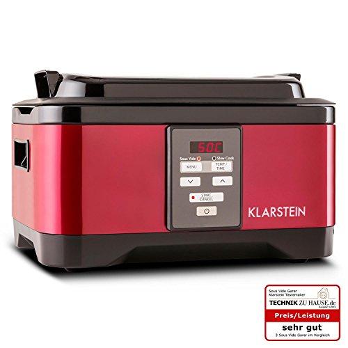 Klarstein Tastemaker Sous Vide Garer Vakuumgarer zum Niedrigtemperaturgaren (6 Liter Gareinsatz, 550 Watt, Edelstahl, 1 - 24 Stunden Timer, 40-90°C Bereich in 1°C-Schritten einstellbar) rot