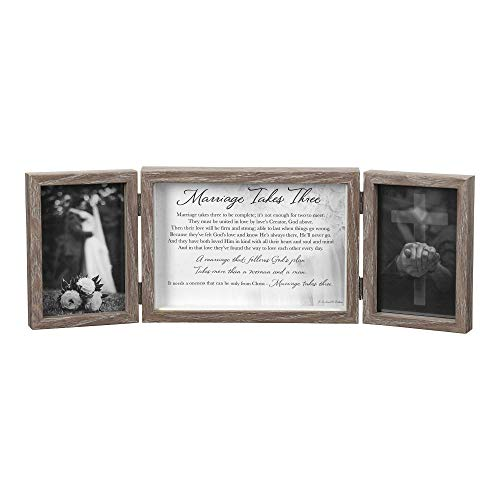 Dicksons Marriage Takes Three Be Complete Natural Wood 3-Part Hinged Tabletop Photo Frame