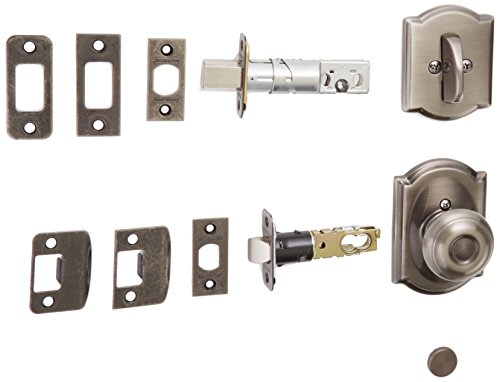 Schlage Lock Company F59GEO620CAM Antique Pewter Georgian Interior Pack Knob Set with Single Cylinder Deadbolt and Decorative Camelot Rose (Interior Half Only) -