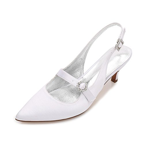 L@YC Womens Ladies High Heel Low Mid Kitten Platform Flower Wedding Bridal Prom Evening Shoes Size 99634-12 White