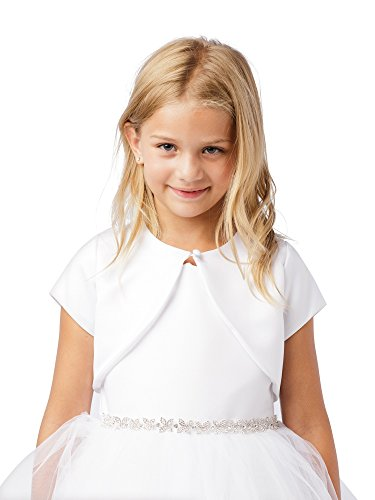 Big Girls Ivory Short Sleeved One Button Closure Satin Bolero Jacket 8 - One Button Jacket In Satin