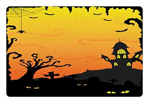 Lunarable Halloween Pet Mat for Food and Water, Halloween at Gothic Castle Creepy Yellow Eyes in Forest, Rectangle Non-Slip Rubber Mat for Dogs and Cats, Mustard Yellow Pale Orange and Black]()