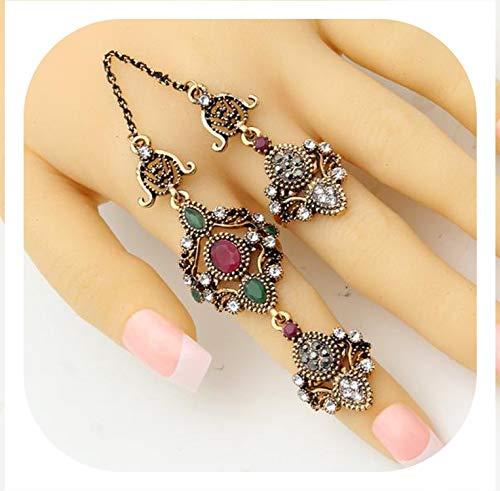 Fall In Love Nobby Flower Double Finger Ring Turkish Women Antique Crystal Ethnic Chain Rings Royal Ladies Arabesque Jewelry Anneau Anillos,002