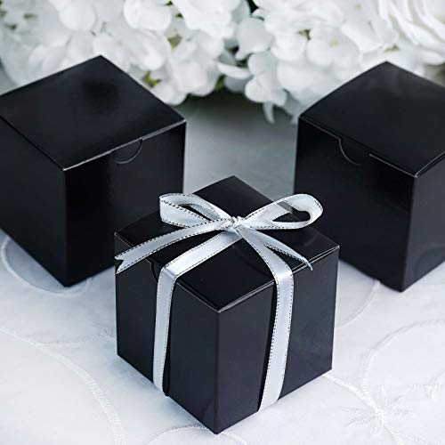 Efavormart 100 pcs of 3x3x3 Black Favor Box for Candy Treat Gift Wrap Box Party Favor Boxes for Bridal Shower Wedding Party
