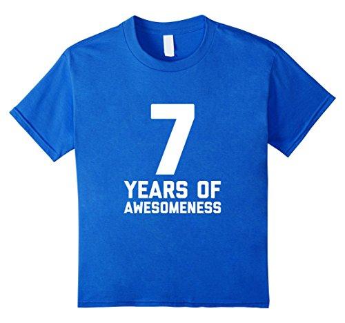 Kids 7th Birthday Shirt Gift Age 7 Year Old Boy Girl Tshirt Tee 6 Royal Blue