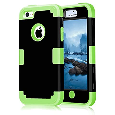 iPhone 5C Case, KAMII Shock Absorption / High Impact Resistent Full Body Hybrid Armor Protection Defender Case Cover for Apple iPhone 5C (Black (5c Of Mice And Men Case)