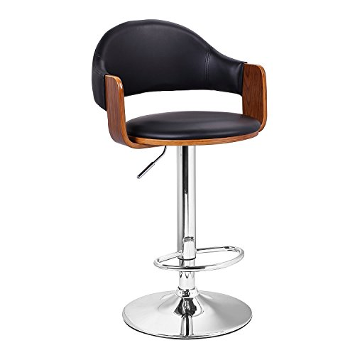 Adeco Best Sellers! Extremely Comfy with Extra Padding & Larger Seat! black Modern Adjustable Swivel Hydraulic bar Stools Low Back Accent Chair, Restaurant & Home, Walnut; Matt Black