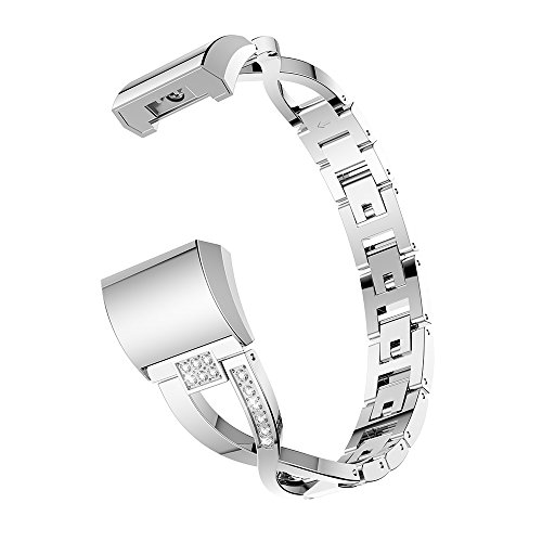 Look Bling - Watch Band for Fitbit Charge 2 Metal Replacement Bands with Bling Rhinestone Adjustable Fitbit Charge 2 Bands Bracelet (Silver)
