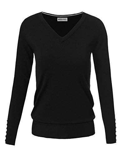 MAYSIX APPAREL Long Sleeve V-Neck/Crew Neck Knit Pullover Sweater for Women (S-XL)