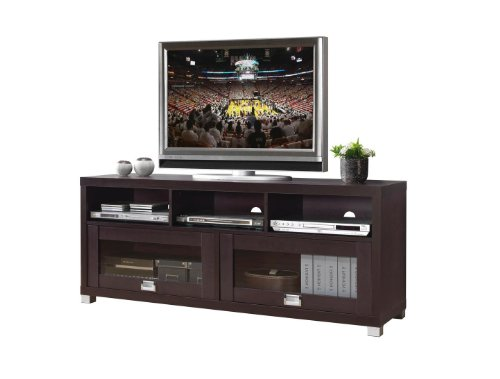Modern Espresso Wenge Chocolate Wooden TV Media Stand Entertainment Center for 65'' TVs with Storage - Includes Modhaus Living Pen