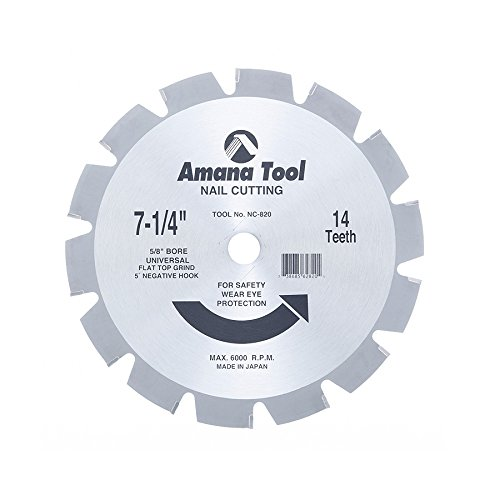 Amana Tool NC-820 Carbide Tipped Nail Cutting & Demolition 7-1/4 Inch D x 14T 5/8 Bore, Circular Saw Blade (Nail Blade Saw Circular)