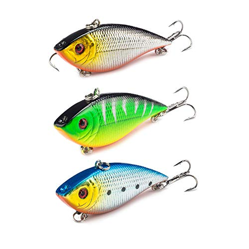 ActiveCraft Lipless Crankbait 3 Pack - Largemouth Wobbler Series Triple Owner Hooks (Mixed, 3 Pack)