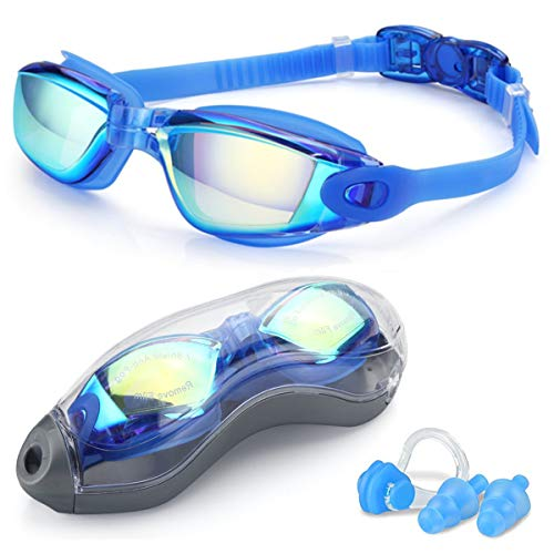 Nemei Swim Goggles, Swimming Goggles No Leaking Anti Fog UV Protection Triathlon Swim Goggles with Nose Clip Ear Plugs and Free Protection Case for Adult Men Women Youth (Blue Colorful)