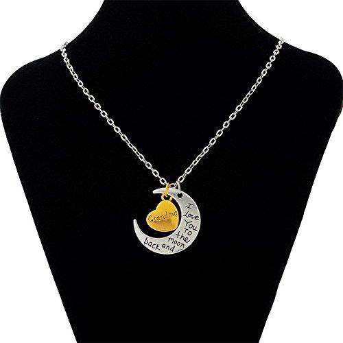 DaoRier 1pc Colgante collar de mujer Cadena Clain Neklace Silver Grandma