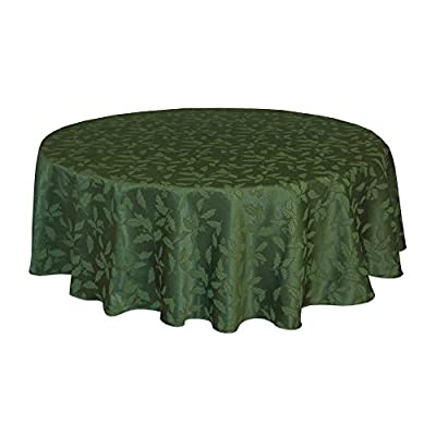 Lenox Holly Damask Tablecloth, 60 by 84-Inch Oval, Green - Sophisticated and lovely Holly Damask linens from Lenox 58 percent cotton and 42 percent polyester background Features tone-on-tone holly leaves - tablecloths, kitchen-dining-room-table-linens, kitchen-dining-room - 41dmIUs4uwL. SS400  -