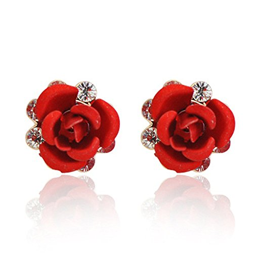 [Resin Color Simulated Coral Rose Flower Earring Studs-EGG168 (Red)] (Simulated Coral Earrings)