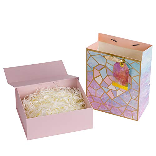 Loveinside Medium Purple Marble Pattern Gift Bags Attached Purple Tag, Pink Gift Box with Lid and Shredded Paper Inside, Great for Weddings, Party, Birthday, Anniversaries]()