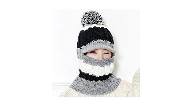 0de9643676f Amazon.com  Mini Mexx Warm Neck Knit hat Fur Pompoms Hat Mask Winter Hat  for Girl Wool Skullies Hat Female Balaclava sacrf  Kitchen   Dining
