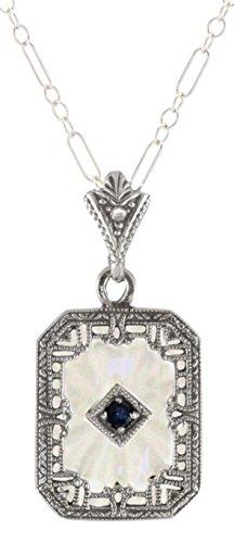 Sterling Silver Art Deco Crystal, Sapphire & Diamond Filigree Pendant