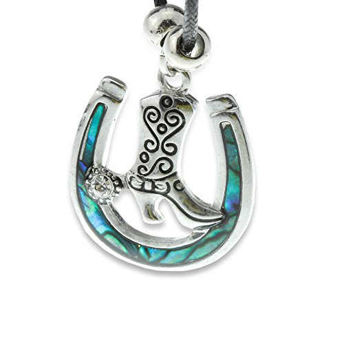 Collana A Ferro Di Cavallo Fortunato [argento E Conchiglia Abalone Ipnotizzante] Ideale Per Rodeo / Country Girls / Dress Up / Sorprendente Gioielli Pendente Cowgirl