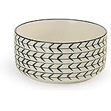 Signature Housewares Glazed Stoneware Pet Bowls (White Arrow, Small)