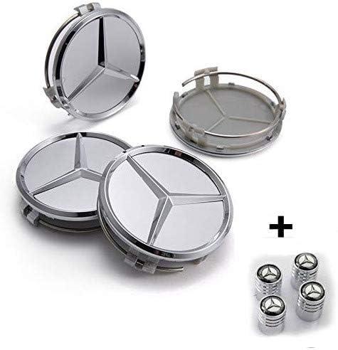 Hubcaps argent/é compatible pour Mercedes Jantes en Alliage Classe A B C E CLK GL M ML SLK 60 mm