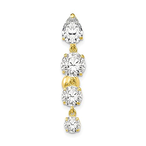 10k Yellow Gold Polished Open back Screw back Tops Down With 4 Dangle Cubic Zirconias Belly Ring Dangle by JewelryWeb (Image #4)
