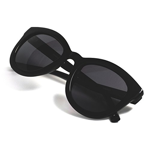 t Eyes Large Fit Oversized Glossy Finish Polarized 100% UV Sunglasses for Women (Black Frame Black Lens) ()