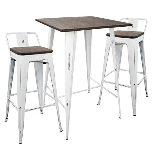 Lumisource Oregon Industrial Pub Table with 2 Low-Back Stools, Espresso/Vintage White