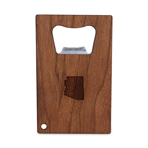 Arizona Credit Card - WOODEN ACCESSORIES COMPANY Credit Card Sized Bottle Opener With Laser Engraved Arizona Design- Stainless Steel Bottle Opener With Wooden Front Panel - Slim And Wallet Size