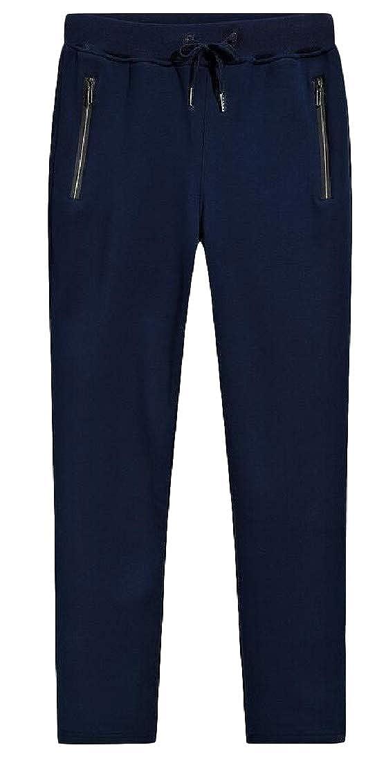 Pandapang Men Fleece Solid Color Warm Sweatpants Elastic Waist Loose Pants