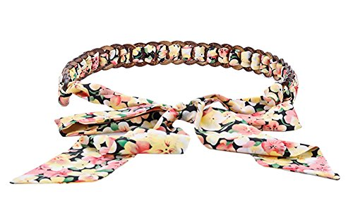 Urban CoCo Women's Floral Print Chiffon Self Tie Belt Inlaid Wood Chain (floral 2)