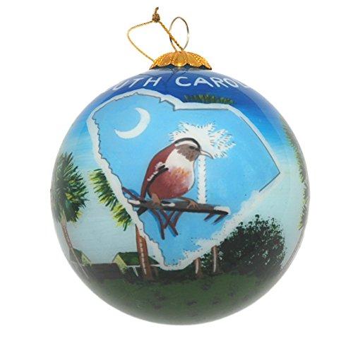 Art Studio Company Hand Painted Glass Christmas Ornament - South Carolina State (South Carolina State Bird)