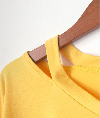 Ritagli Donna Corta Tumblr Camicia Moda Crop Manica Stampato Minetom Camicetta Magliette Top Estate Tops Pianeta B Giallo Casuale Ananas 5qg8P7g