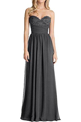 Lang Abschlussballkleider Braut Brautjungfernkleider Herzausschnitt Linie Festlichkleider mia Abendkleider La Grau A Dunkel Rock Chiffon Herrlich pqw8FTpx