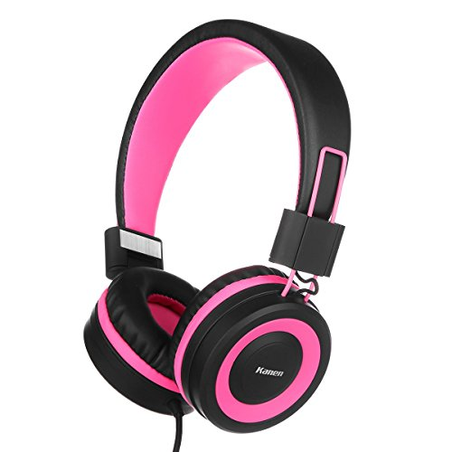 On Ear Headphones, Earto I50 Foldable Lightweight Stereo wired Headphones for Kids & Adults(Hot Pink)