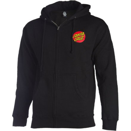 Dot Hoodie - Santa Cruz Mens Classic Dot Hoody Zip Sweatshirt Large Black