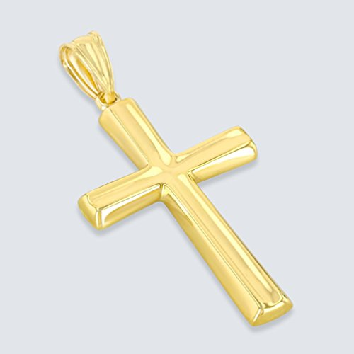 Polished 14K Yellow Gold Plain Religious Cross Pendant with Figaro Chain Necklace, 24'' by JewelryAmerica (Image #1)