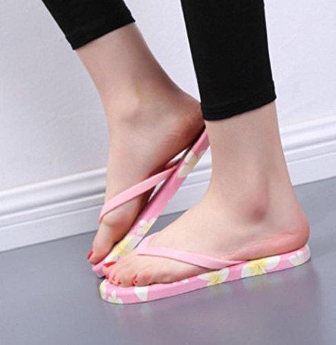 Sagton Zomer Dames Sandalen Antislip Peep-toe Platte Flip Flops Zandstrand Badkamer Slippers Schoenen Roze